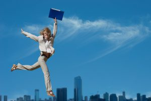 woman in the air with notebook